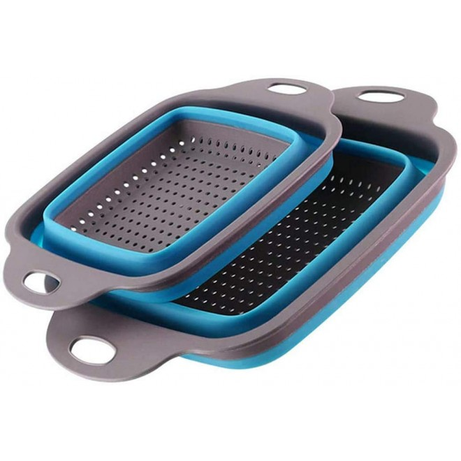 Набор складных дуршлагов (2 штуки), Дуршлаг силиконовый складной большой и маленький Collapsible filter baskets