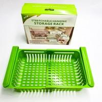 Раздвижной пластиковый контейнер для хранения продуктов в холодильнике Storage rack зеленый