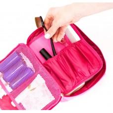 Дорожный органайзер для косметики с отстегивающимся кармашком С011 розовый