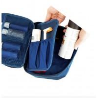 Дорожный органайзер для косметики с отстегивающимся кармашком С011 синий