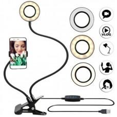 Лампа лед на прищепке с гибким держателем для телефона Professional Live Stream