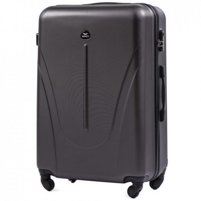 Пластиковый чемодан на колесах Wings 888 М графит