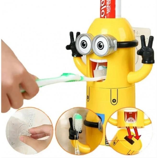 """Детский дозатор зубной пасты с подставкой для зубных щеток """"МИНЬОН"""""""