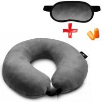 Подушка Coverbag для путешествий серая  маска для сна