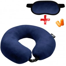 Подушка Coverbag для путешествий синяя + маска для сна