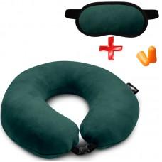 Подушка Coverbag для путешествий зеленая  маска для сна