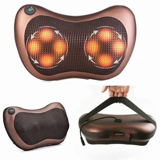 Массажная роликовая подушка массажер в машину Massage pillow 8028 для спины и шеи
