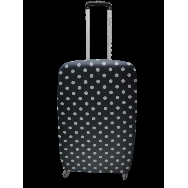 Чехол для чемодана Coverbag неопрен L горох черный