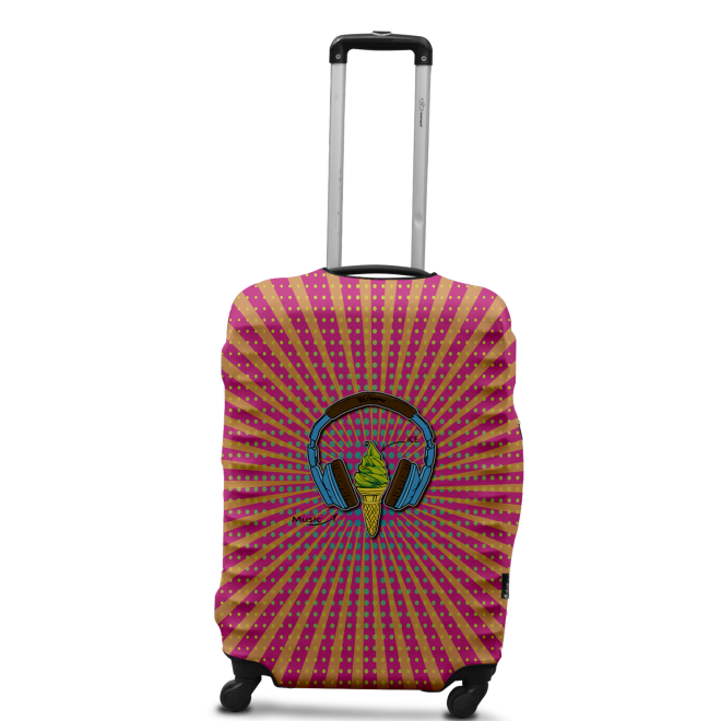 Чехол для чемодана Coverbag наушники L принт 0427