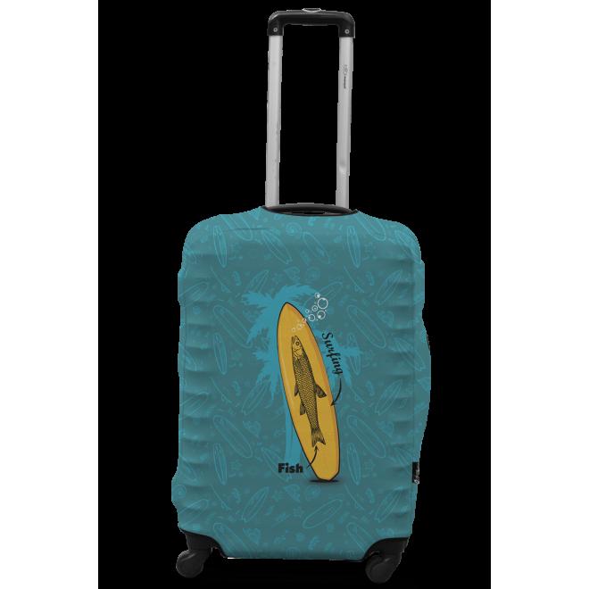 Чехол для чемодана Coverbag серфинг L принт 0423