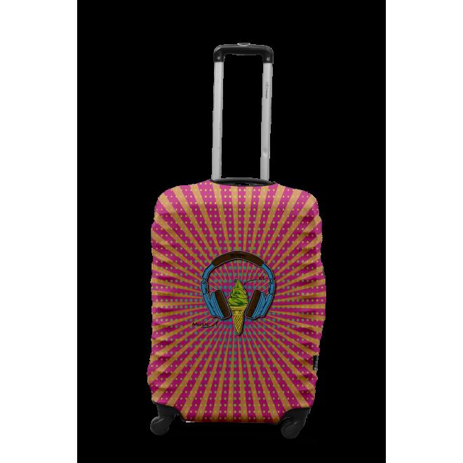 Чехол для чемодана Coverbag наушники M принт 0427