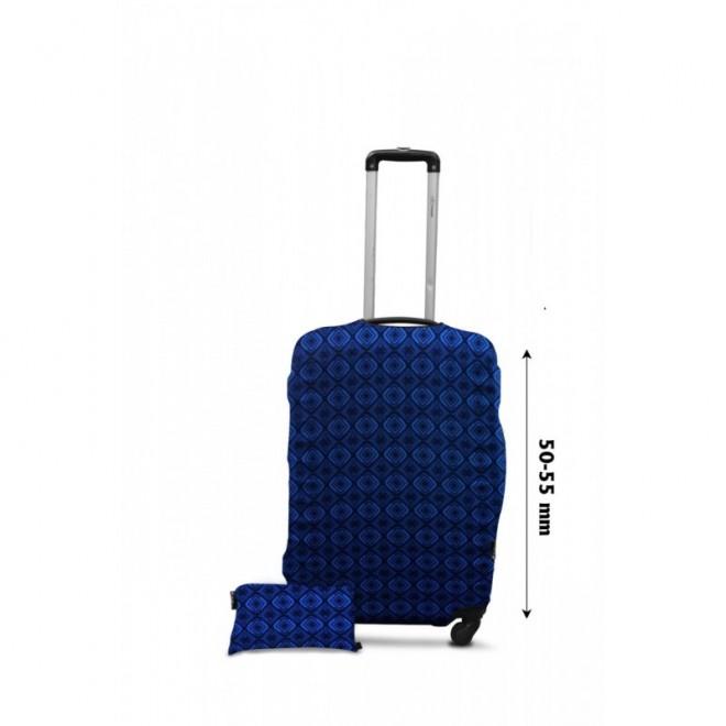 Чехол для чемодана Coverbag дайвинг S ромбы голубые