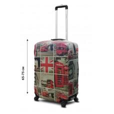 Чехол для чемодана Coverbag неопрен  L  Лондон коллаж