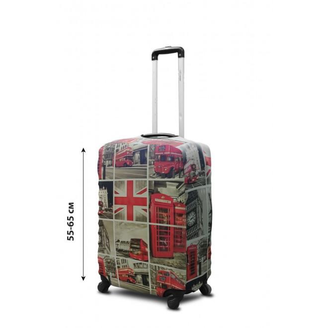 Чехол для чемодана Coverbag неопрен M Лондон коллаж