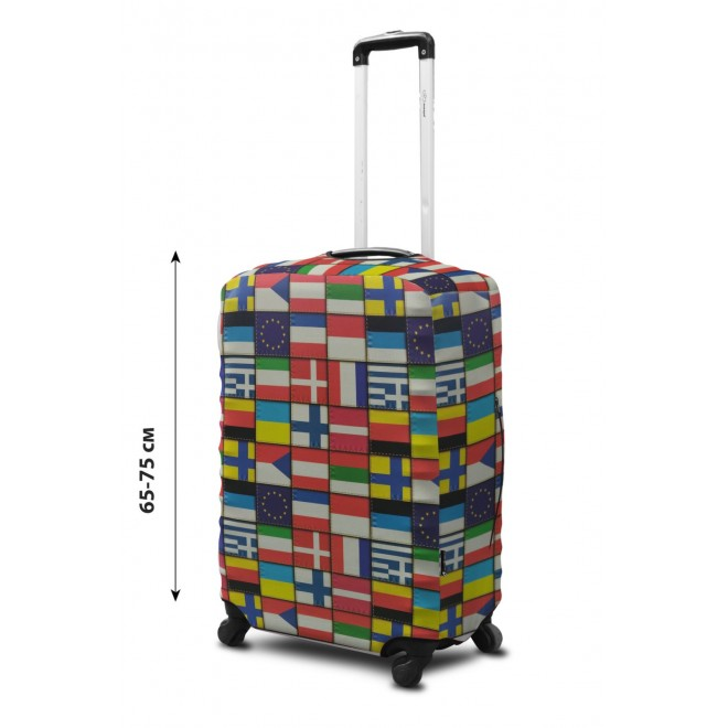 Чехол для чемодана Coverbag неопрен L Флаги мира
