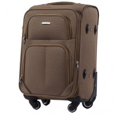 Тканевый чемодан Wings 214 маленький S на 4 колесах коричневый