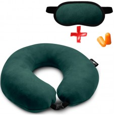Подушка Coverbag для путешествий зеленая + маска для сна