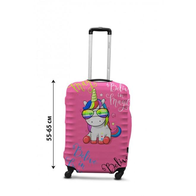 Чехол для чемодана Coverbag единорог M принт 0428