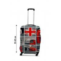 Чехол для чемодана Coverbag коллаж Лондон  М принт  0433