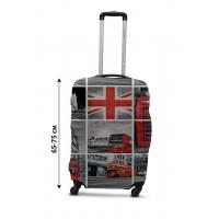Чехол для чемодана Coverbag  коллаж Лондон L принт 0433