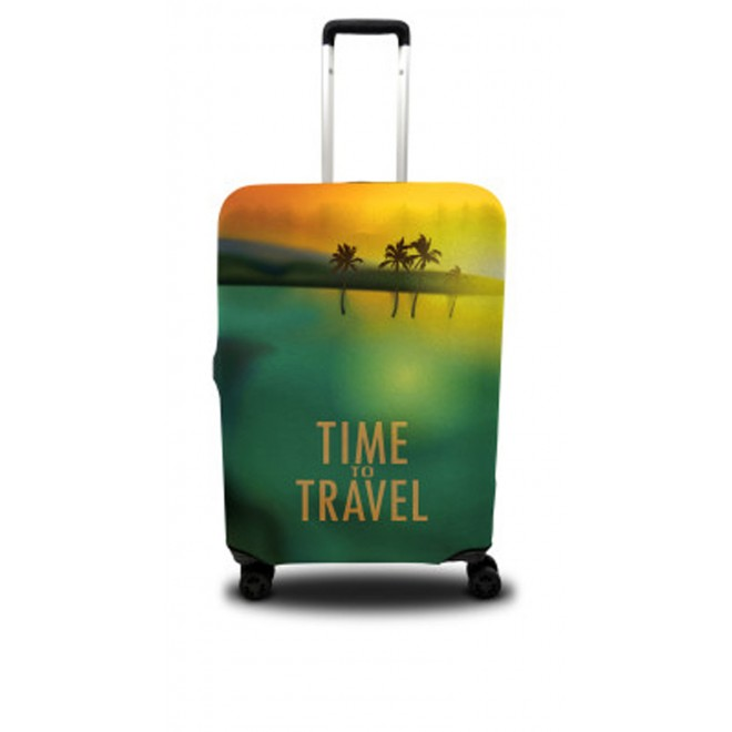 Чехол для чемодана Coverbag пальмы M принт 0406