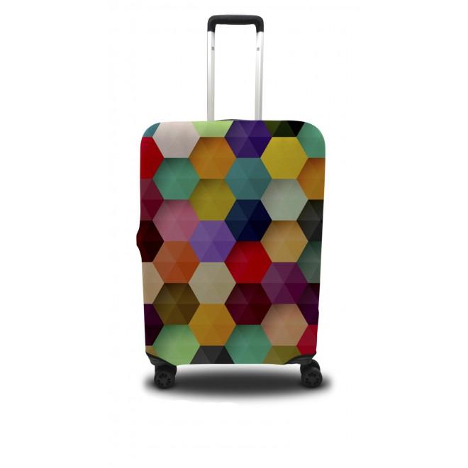 Чехол для чемодана Coverbag шестиугольник M принт 0410