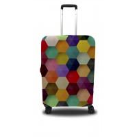 Чехол для чемодана Coverbag шестиугольник L принт 0410