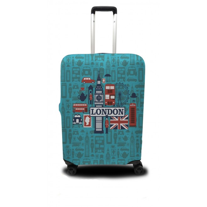 Чехол для чемодана Coverbag Лондон M принт 0412