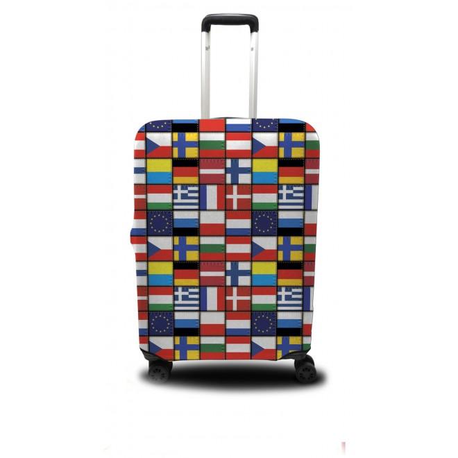 Чехол для чемодана Coverbag флаги мира M принт 0413