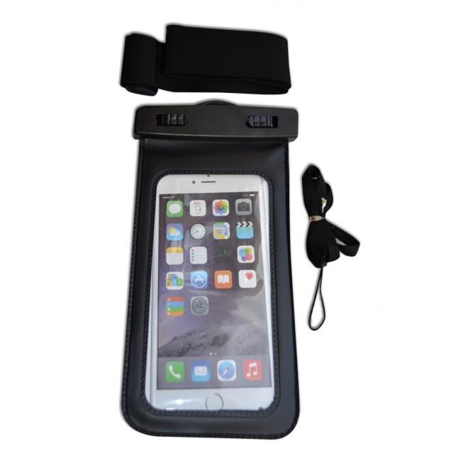 Водонепроницаемый чехол для телефона черный с ремнем на руку