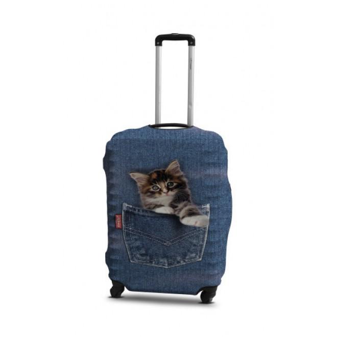 Чехол для чемодана Coverbag кот в джинсах M принт 0421