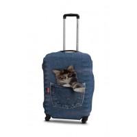 Чехол для чемодана Coverbag кот в джинсах L принт 0421