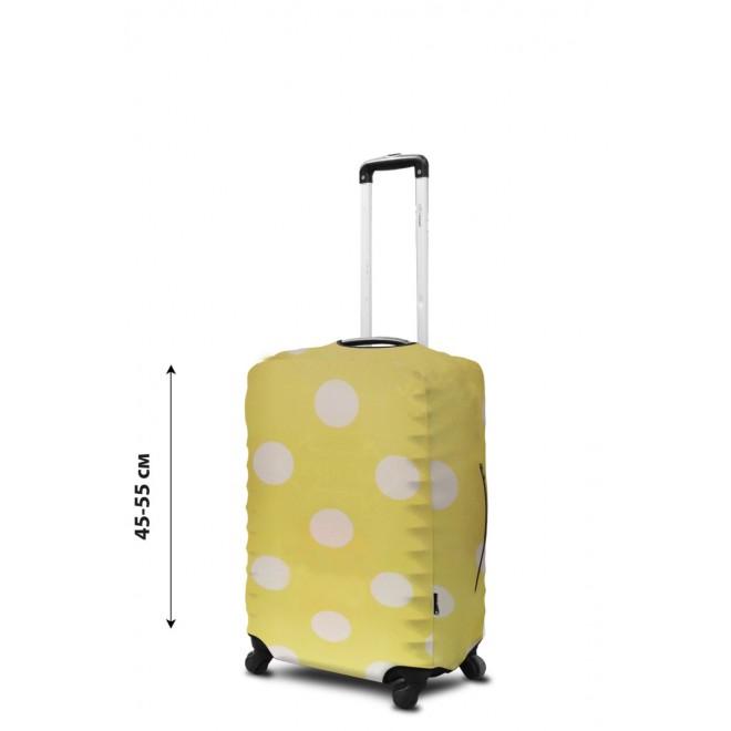 Чехол для чемодана Coverbag неопрен S горох желтый