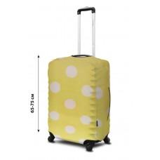 Чехол для чемодана Coverbag неопрен  L горох  желтый