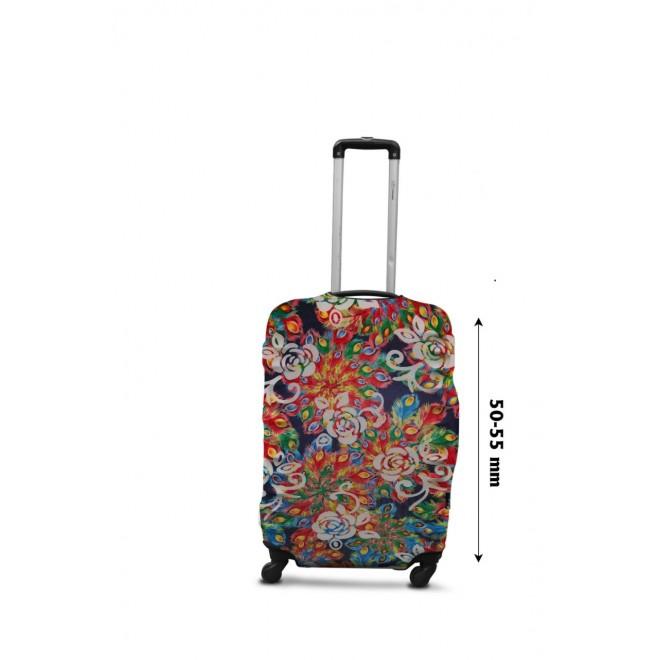 Чехол для чемодана Coverbag дайвинг S павлин разноцветный