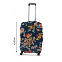 Чехол для чемодана  Coverbag дайвинг L цветы на синем
